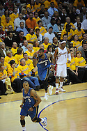 The Washington Wizards defeated the Cleveland Cavaliers 88-87 in Game 5 of the First Round of the NBA Playoffs, April 30, 2008 at Quicken Loans Arena in Cleveland.<br /> DeShawn Stevenson of Washington waves his hand in front of his face after making a 3-point basket over Daniel Gibson.