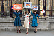 Pro Brexit campaigners Beatrice, Alice and Lydia Grant outside Westminster on the 12th April 2019 in London in the United Kingdom.