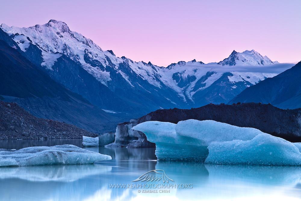 Sunrise over Tasman Glacier, New Zealand