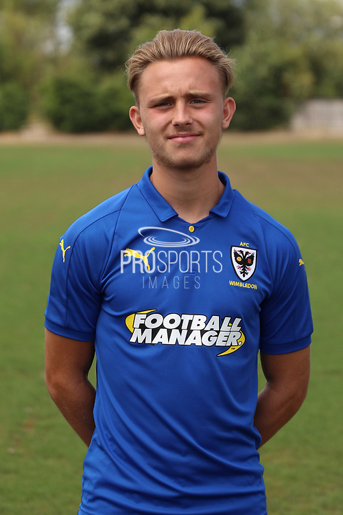 AFC Wimbledon defender Tom Scott (23) during the AFC Wimbledon 2018/19 official photocall at the Kings Sports Ground, New Malden, United Kingdom on 31 July 2018. Picture by Matthew Redman.