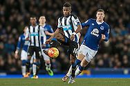 Rolando Aarons (Newcastle United) controls the ball in midfield during the Barclays Premier League match between Everton and Newcastle United at Goodison Park, Liverpool, England on 3 February 2016. Photo by Mark P Doherty.