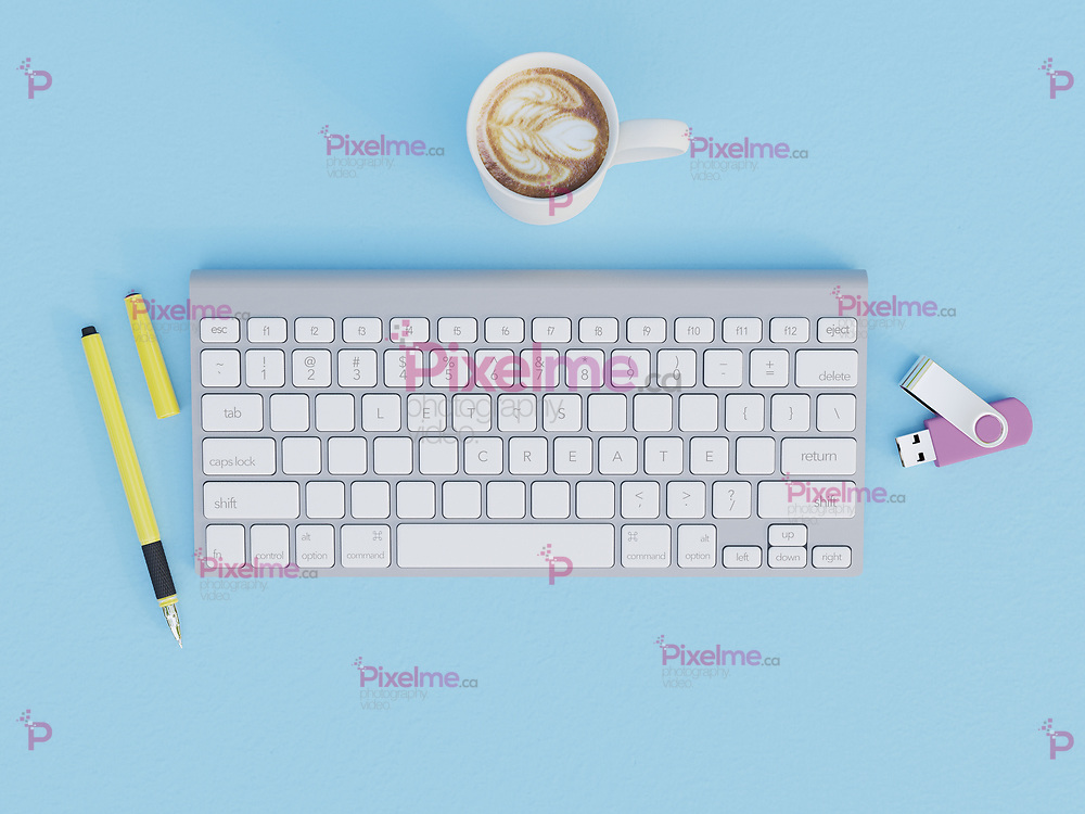 Keyboard with Lets Create message written with its keys - 3d rendering concept