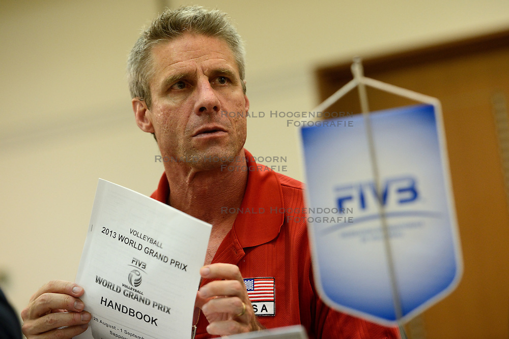 26-08-2013 VOLLEYBALL: WORLD GRAND PRIX FINAL6: SAPPORO<br /> The day for the preliminary inquiry and the first CC meeting / Head coach Karch Kiraly<br /> ©2013-FotoHoogendoorn.nl