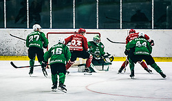 ČEPON Mark of HDD Olimpija and MUŠIČ Aleš of HDD Olimpija and PLANKO David of HDD Olimpija vs Mirko Djumic of HDD Jesenice during 500th derbi between HK SZ Olimpija Ljubljana vs HDD SIJ Acroni Jesenice  - AHL 2019/20, on the 26th of  Oktober, Ljubljana, Slovenia. Photo by Matic Ritonja / Sportida
