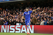 Diego Costa of Chelsea celebrates after his shot is deflected into the net to score his teams 1st goal. UEFA Champions league group G match, Chelsea v Porto at Stamford Bridge in London on Wednesday 9th December 2015.<br /> pic by John Patrick Fletcher, Andrew Orchard sports photography.