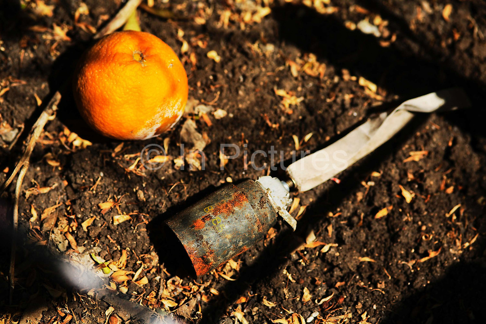 A left over from the war in Lebanon 2006 - an M42 Israeli made cluster bomb unit, powerful enough to kill.  Found in an orange grove in South Lebanon.