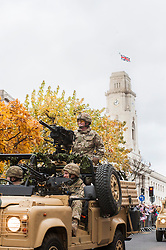 Barnsley turned out in force to welcome home from Operation Herrick 16 The Light Dragoons Englands Northern Cavalry  today (13th November 2012). Led by the Band of Heavy Cavalry and Cambrai around 250 troops supported by military vehicles made their around Barnsley Town centre to the town hall for an official reception, a presentation and inspection...13 November 2012.Image © Paul David Drabble