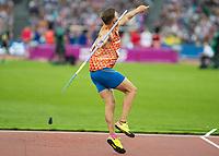 Athletics - 2017 IAAF London World Athletics Championships - Day Nine, Evening Session<br /> <br /> Mens Decathlon - Javelin<br /> <br /> Pieter Braun (Netherlands)  launches the javelin at the London Stadium<br /> <br /> COLORSPORT/DANIEL BEARHAM