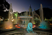 Fountain of the Lions in the Plaza Las Delicias at twilight February 21, 2009 in Ponce, Puerto Rico.