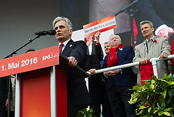 """01.05.2016, Rathausplatz, Wien, AUT, SPÖ, Traditioneller Maiaufmarsch am Tag der Arbeit unter dem Motto """"Unsere Stärke: Sozialer Zusammenhalt!"""". im Bild v.l.n.r. Bundeskanzler Werner Faymann (SPÖ), Landeshauptmann und Bürgermeister von Wien Michael Häupl (SPÖ) und ÖGB- Präsident Erich Foglar // f.l.t.r. Federal Chancellor of Austria Werner Faymann, Mayor of Vienna Michael Haeupl (SPOe) and President of the Austrian Trade Union Federation Erich Foglar during labour day celebration of the austrian social democratic party at Rathausplatz in Vienna, Austria on 2016/05/01. EXPA Pictures © 2016, PhotoCredit: EXPA/ Michael Gruber"""