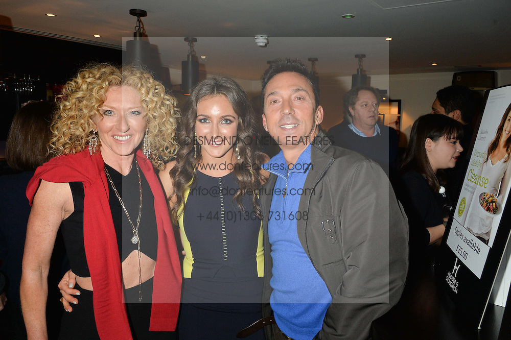 Left to right, KELLY HOPPEN, NATASHA CORRETT and BRUNO TONIOLI at a party to celebrate the publication of Honestly Healthy Cleanse by Natasha Corrett held at Tredwell's Restaurant, 4a Upper St.Martin's Lane, London on 14th January 2015.