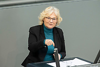 """25 MAR 2020, BERLIN/GERMANY:<br /> Christine Lambrecht, SPD, Bundesjustizministerin, Bundestagsdebatte zu """"COVID 19 - Zivil-, Insolvenz-, Strafverfahrensrecht"""", Plenum, Reichstagsgebaeude, Deutscher Bundestag<br /> IMAGE: 20200325-01-057<br /> KEYWORDS: Pandemie, Corona, Sitzung, Debatte"""