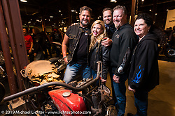 Christine and Michael Detwiler and friends during the Friday night opening of the Handbuilt Motorcycle Show. Austin, TX. April 10, 2015.  Photography ©2015 Michael Lichter.
