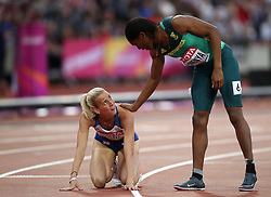 Great Britain's Lynsey Sharp (left) and South Africa's Caster Semenya after running in heat 2 of the 800 metres semi-final during day eight of the 2017 IAAF World Championships at the London Stadium.
