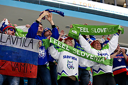 The fans of Slovenia celebrate during ice hockey match between Slovenia and Lithuania at IIHF World Championship DIV. I Group A Kazakhstan 2019, on May 5, 2019 in Barys Arena, Nur-Sultan, Kazakhstan. Photo by Matic Klansek Velej / Sportida