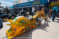 "Gilby's Street Dept. ""Green Onion"" at the 27th Annual Boardwalk Bike Show during Daytona Bike Week 75th Anniversary event. FL, USA. Friday March 11, 2016.  Photography ©2016 Michael Lichter."
