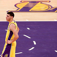 21 November 2017: Los Angeles Lakers guard Lonzo Ball (2) is seen during the LA Lakers 103-94 victory over the Chicago Bulls, at the Staples Center, Los Angeles, California, USA.