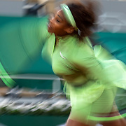PARIS, FRANCE May 31. Serena Williams of the United States in action against Irina-Camelia Begu of Romania on Court Philippe-Chatrier during the first round of the singles competition at the 2021 French Open Tennis Tournament at Roland Garros on May 31st 2021 in Paris, France. (Photo by Tim Clayton/Corbis via Getty Images)