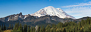Mount Rainier and the Cowlitz Chimneys, Barrier Peak and Governors Ridge from Tipsoo Lake.  Photographed from the Tipsoo Lake lookout along SR 420 in Mount Rainier National Park, Washington State, USA