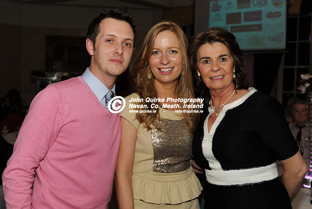 05-04-13. Meath Style Awards 2013 at the Headfort Arms Hotel, Kells.<br /> L to R: Shane O'Neill, Joanne Mallon and Karol Mallon, Ribbon Rouge.<br /> Photo: John Quirke / www.quirke.ie<br /> ©John Quirke Photography, Unit 17, Blackcastle Shopping Cte. Navan. Co. Meath. 046-9079044 / 087-2579454.