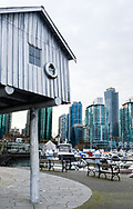 The public sculpture 'LightShed' by Liz Magor in Coal Harbour, Vancouver, British Columbia