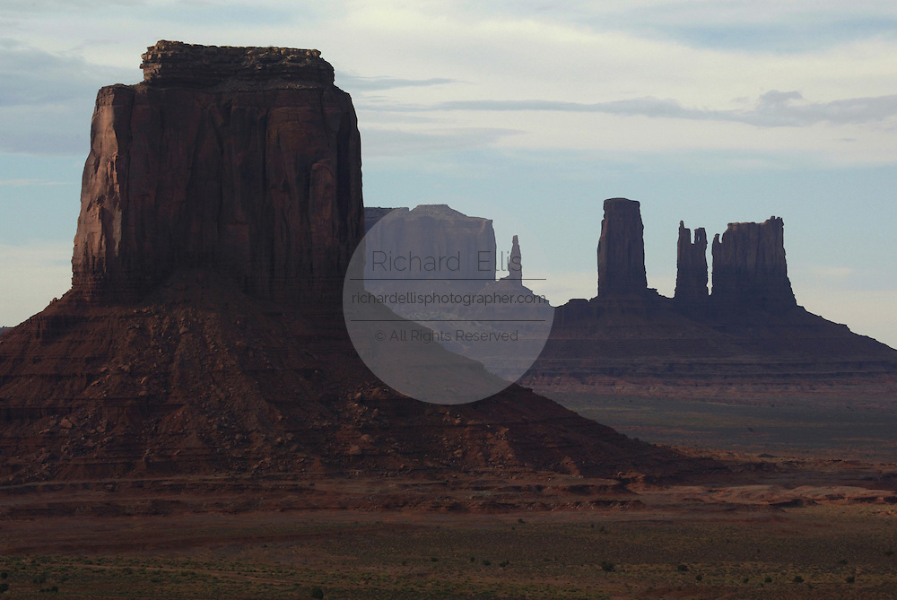 View of Monument Valley on the southern border of Utah with northern Arizona. The valley lies within the range of the Navajo Nation Reservation. The Navajo name for the valley is Tsé Bii' Ndzisgaii - Valley of the Rocks.