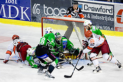 Andrej Hebar of Acroni Jesenice, Nejc Berlisk of Tilia Olimpija, Jure Kralj (18) of Tilia Olimpija, Goalkeeper of Olimpija Ales Sila, Anze Terlikar of Acroni Jesenice and Igor Cvetek of Tilia Olimpija at 6th Round of ice-hockey Slovenian National Championships match between HDD Tilia Olimpija and HK Acroni Jesenice, on April 2, 2010, Hala Tivoli, Ljubljana, Slovenia.  Acroni Jesenice won 3:2 after overtime and became Slovenian National Champion 2010. (Photo by Vid Ponikvar / Sportida)