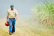 14 NOVEMBER 2005 - FRANKLIN, LA: KEVIN RODRIGUEZ walks out of the smoke after burning his sugar cane field near Franklin, Louisiana during the 2005 sugar cane harvest. The fields are burned during the harvest to clear shuck and waste from the fields and to facilitate the growth of the next crop. Louisiana is one of the leading sugar cane producing states in the US and the economy in southern Louisiana, especially St. Mary and Iberia Parishes, is built around the cultivation of sugar. Sugar growers in the area are concerned that trade officials will eliminate sugar price supports during upcoming trade talks for the proposed Free Trade Area of the Americas (FTAA). They say elimination of price supports will devastate sugar growers in the US and the local economies of sugar growing areas. They also say it will ultimately lead to higher sugar prices for US consumers.   PHOTO BY JACK KURTZ