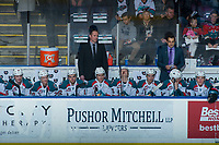 KELOWNA, CANADA - MARCH 14:  Kelowna Rockets' head coach Jason Smith stands on the bench with assistant coach Travis Crickard against the Prince George Cougars on March 14, 2018 at Prospera Place in Kelowna, British Columbia, Canada.  (Photo by Marissa Baecker/Shoot the Breeze)  *** Local Caption ***