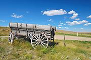 Old wooden wagon on the prairie<br /> Rosenhof<br /> Saskatchewan<br /> Canada