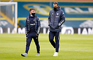Leeds United midfielder Jamie Shackleton (46) and Leeds United defender Pascal Struijk (21) arrives at the ground  during the Premier League match between Leeds United and Brighton and Hove Albion at Elland Road, Leeds, England on 16 January 2021.