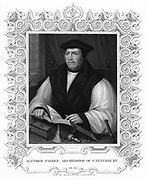 Matthew Parker (1504-1575), English prelate and second Anglican Archbishop of Canterbury from 1559. Engraving by W. Holl.