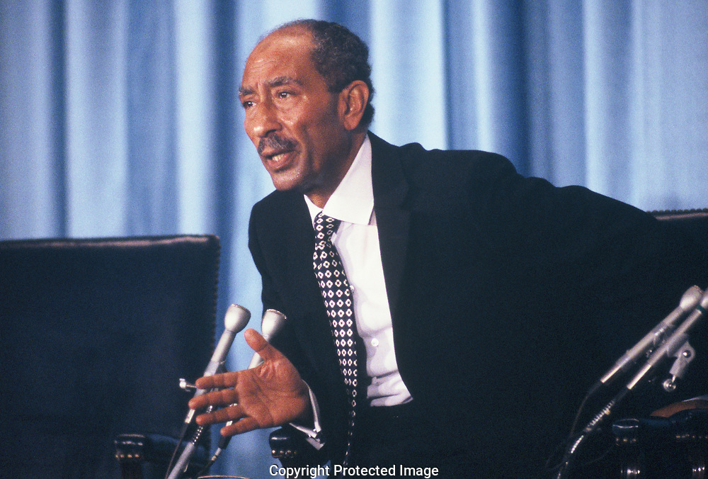 Anwar Sadat speaks at the US Chamber of Commerce on March 27,1979<br /> Photo by Dennis Brack