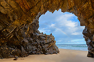 Oceania, Australia; Australian; Tasmania; Bruny Island Neck Game reserve, Beach with Natural Arch