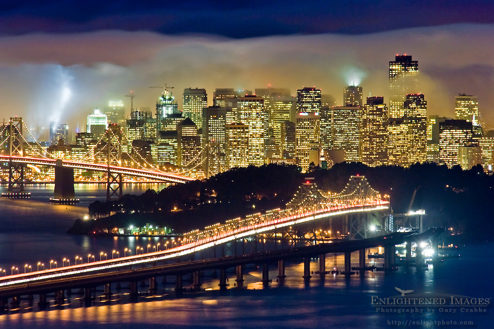 City lights and evening fog in San Francisco and San Francisco Bay, California