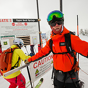 Exiting Jackson Hole Mountain Resort with mountain guide Jacob Stinson.