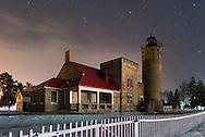 Old Mackinac Lighthouse on a winter's night in Mackinaw City, Michigan