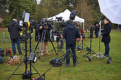 Members of the media gather outside the Visitor Centre at the Sandringham Estate in Norfolk, where Queen Elizabeth II and senior royals are holding crisis talks over the future roles of the Duke and Duchess of Sussex.