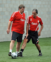 LIVERPOOL, ENGLAND - Tuesday, May 12, 2009: Ex-Liverpool players Mark Lawrenson and Jan Molby during a training session at Melwood as the players prepare for the Hillsborough Memorial Game in aid of the Marina Dalglish Appeal which will be staged at Anfield on May 14. (Photo by Dave Kendall/Propaganda)