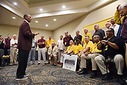 Herm Edwards adresses former ASU SunDevil football players prior to Legends Lunch during Homecoming