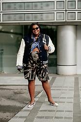 Street style, Gabriella Karefa-Johnson arriving at Ludovic de Saint Sernin Spring Summer 2022 show, held at Institut du Monde Arabe, Paris, France, on Ocotber 3rd, 2021. Photo by Marie-Paola Bertrand-Hillion/ABACAPRESS.COM