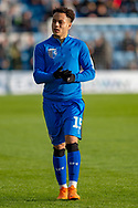 Gillingham FC midfielder Elliott List (15) during the warm up ahead of the EFL Sky Bet League 1 match between Gillingham and Fleetwood Town at the MEMS Priestfield Stadium, Gillingham, England on 3 November 2018.<br /> Photo Martin Cole