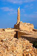 Column from the temple of Apollo, the Greek archaeological site of Ancient Aegina, Kolna, Greek Saronic Islands ..<br /> <br /> If you prefer to buy from our ALAMY PHOTO LIBRARY  Collection visit : https://www.alamy.com/portfolio/paul-williams-funkystock/aegina-greece.html <br /> <br /> Visit our ANCIENT GREEKS PHOTO COLLECTIONS for more photos to download or buy as wall art prints https://funkystock.photoshelter.com/gallery-collection/Ancient-Greeks-Art-Artefacts-Antiquities-Historic-Sites/C00004CnMmq_Xllw