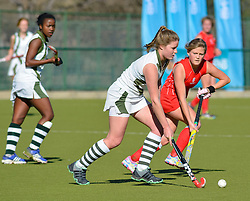 Allison Brown of DSG(white) and Megan de Lange of St Mary's during day one of the FNB Private Wealth Super 12 Hockey Tournament held at Oranje Meisieskool in Bloemfontein, South Africa on the 6th August 2016<br /> <br /> Photo by:   Frikkie Kapp / Real Time Images