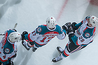 KELOWNA, CANADA - FEBRUARY 22: Rodney Southam #17 is congratulated by Gordie Ballhorn #4 and Nolan Foote #29 of the Kelowna Rockets on a third period hat trick goal against the Edmonton Oil Kings on February 22, 2017 at Prospera Place in Kelowna, British Columbia, Canada.  (Photo by Marissa Baecker/Shoot the Breeze)  *** Local Caption ***