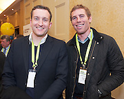 20/11/2014  repro free    <br /> Ross Curran from Curran Financial Servies with Connacht Rugby's Gavin Duffy   at the Galway Bay Hotel for the two day conference Meet West attracting over 400 business people from around Ireland for the largest networking event in the Country . Photo:Andrew Downes