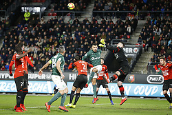 February 10, 2019 - Rennes, France - Timothee Kolodziejczak (Saint Etienne) vs Tomas Koubek  (Credit Image: © Panoramic via ZUMA Press)