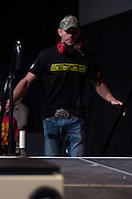 """Donald """"Cowboy"""" Cerrone takes the stage during the official UFC 187 weigh-in event at the MGM Grand in Las Vegas, Nevada on May 22, 2015. (Cooper Neill)"""