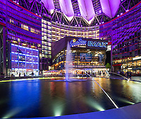 Night view of the public space in Sony Centre at Potsdamer Platz in Berlin.