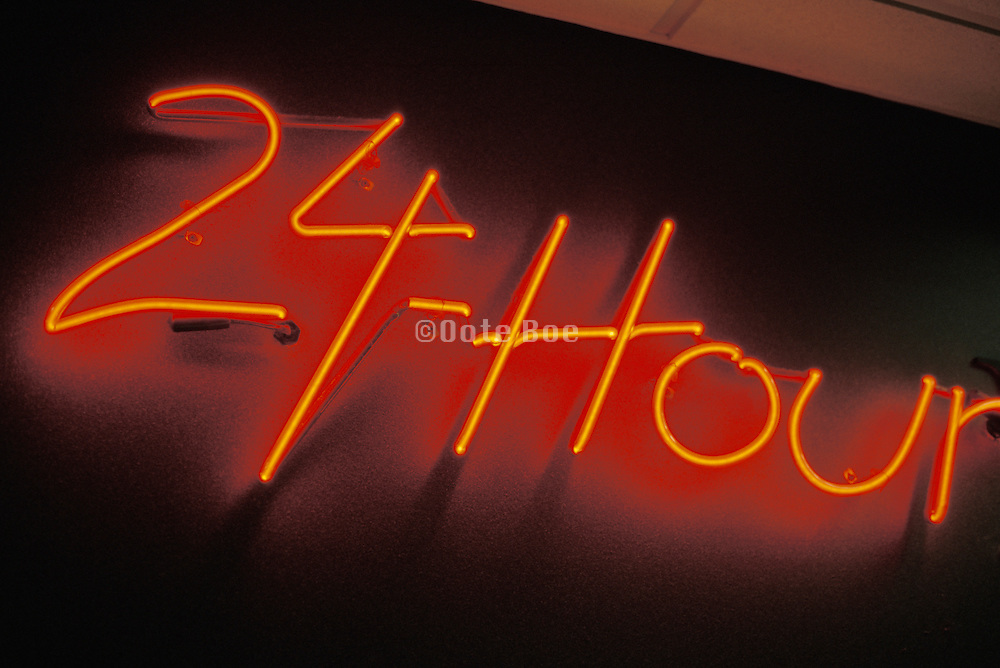24 hour neon sign